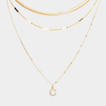 Crystal Monogram Initial Necklace Set