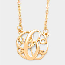 Monogram Script Necklace: Gold