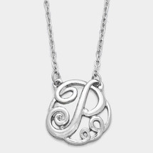 Monogram Script Necklace: Silver