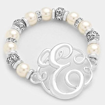 Monogram Charm Pearl & Filigree Stretch Bracelet: Silver