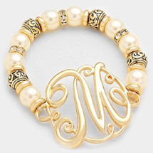 Monogram Charm Pearl & Filigree Stretch Bracelet: Gold