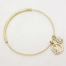 Monogram Adjustable Bangle: Gold