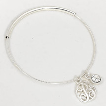 Monogram Adjustable Bangle: Silver