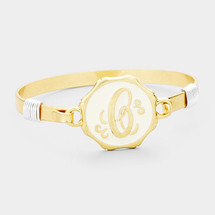 Monogram Metal Disc Hook Bracelet: Gold