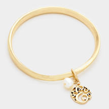 Monogram Bangle With Pearl Drop: Gold