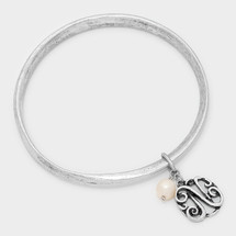 Monogram Bangle With Pearl Drop: Silver