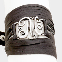 Monogram Wrap Bracelet: Black