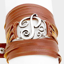 Monogram Wrap Bracelet: Brown