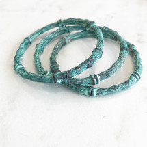 Bamboo Stretchy Bracelet Stack: Patina