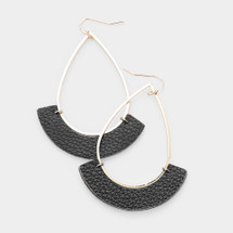 Black & Gold Teardrop Hoops
