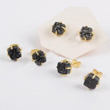 Druzy Agate Titanium Stud Earrings