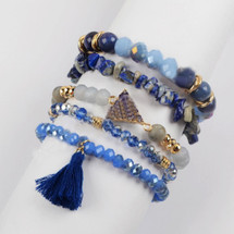 Blue Crush Semi-Precious Stone Bracelet Set
