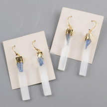 Gold Plated Selenite Quartz & Kyanite Bar Earrings