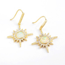 White Opal Starburst Earrings