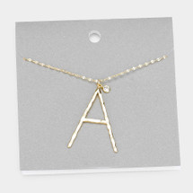 Long Hammered Initial Necklace