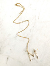 Long Hammered Initial Necklace: Gold