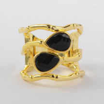 Equinox Ring: Black Agate