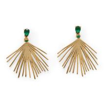 Fanned Out Earrings  -Green Stones *Sterling Silver*