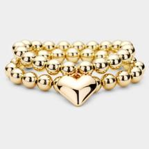 Beaded Heart Bracelet Set: Gold Or Silver