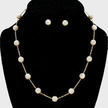 Pearl Station Necklace: Gold Or Silver