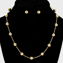 Metallic Bead Station Necklace: Gold Or Silver