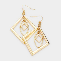 Hammered Layered Geo Earrings: Gold Or Silver