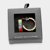 Gold Dipped Rainbow Day Hoops