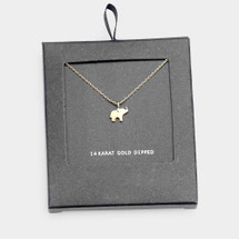Gold Dipped Elephant Necklace: Gold Or Silver