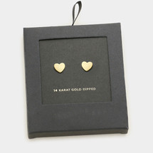 Gold Dipped Tiny Heart Studs