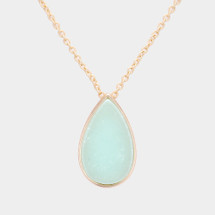 Mint natural Stone Teardrop Necklace