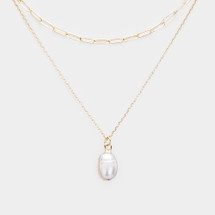 Pearl Pendant Layered Necklace