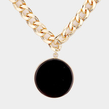 Noir Semi-Precious Stone Disc Necklace