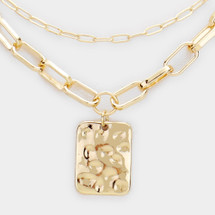 Hammered Rectangle Layered Necklace: Gold Or Silver
