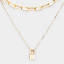 Lock Layered Necklace: Gold Or Silver