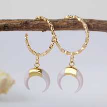 Agate Crescent Moon Hoops