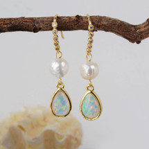 Natural Pearl Opal Teardrop Earrings