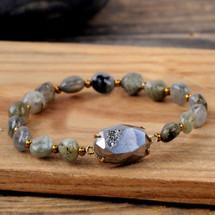 Natural Agate Titanium Stones Bracelet