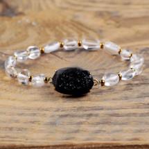 Natural Agate Titanium Druzy White Quartz Beads Bracelet