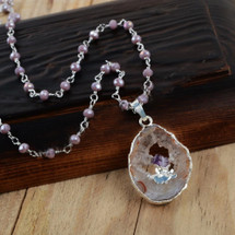 Amethyst Druzy Slice Beaded Necklace