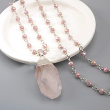 Natural Rose Quartz Beaded Necklace