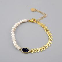 Pearled Druzy Leaf Bracelet