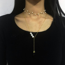 Smoky Quartz & Pearl Y Necklace