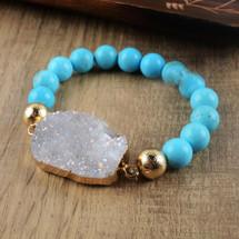 Druzy + Turquoise Bracelet