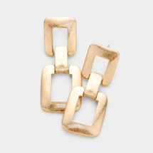 Rectangle Link Earrings: Gold Or Silver