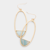 Oval Semi Precious Stone Earrings