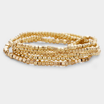 Gold Stacks Stretch Bracelet Set