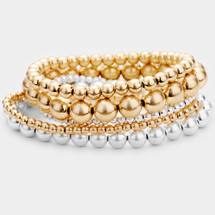 Silver + Gold Stretch Bracelet Set