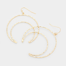 Hammered Crescent Hoops: Gold Or Silver