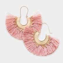 Dusty Pink Fan Tassel Earrings