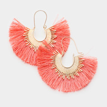Coral Fan Tassel Earrings